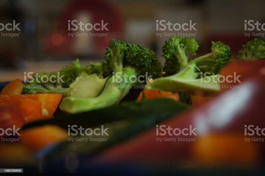 Close-up of a plate full of chopped fresh vegetables stock photo