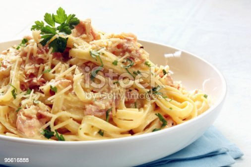 Fettucine carbonara in a white bowl, garnished with parmesan and parsley.
