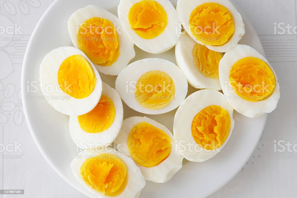 Close-up of a plate of hard boiled eggs stock photo