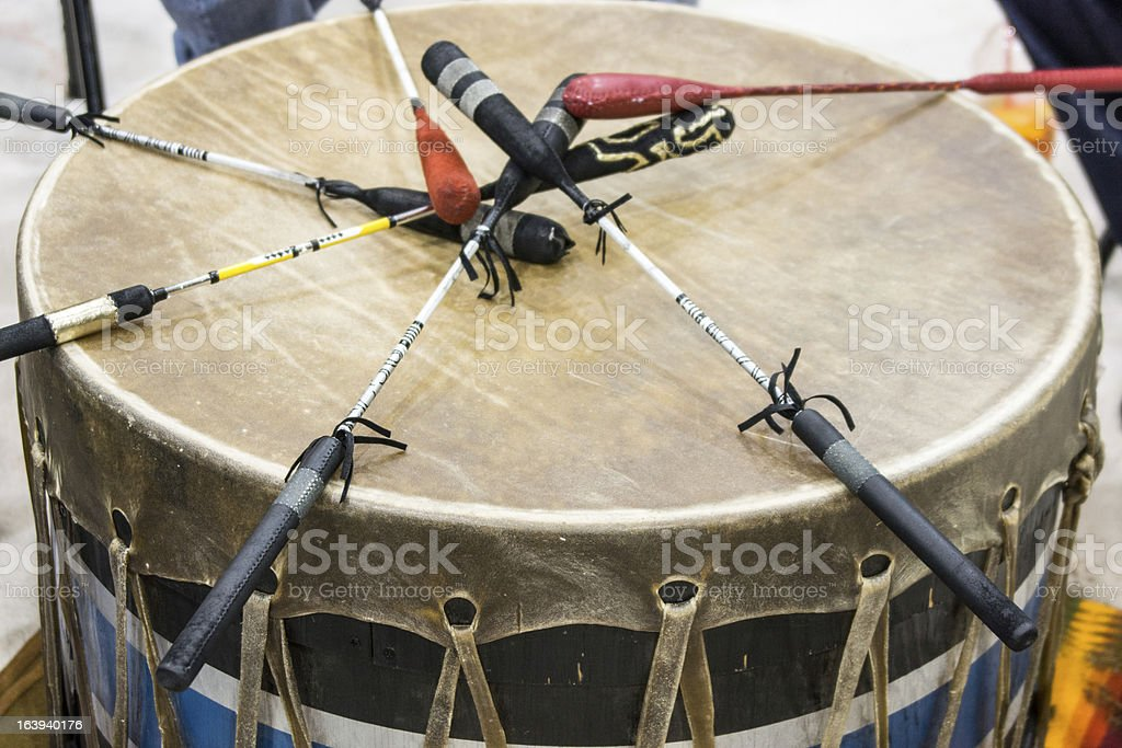 Close-up of a pow wow drum as a background stock photo