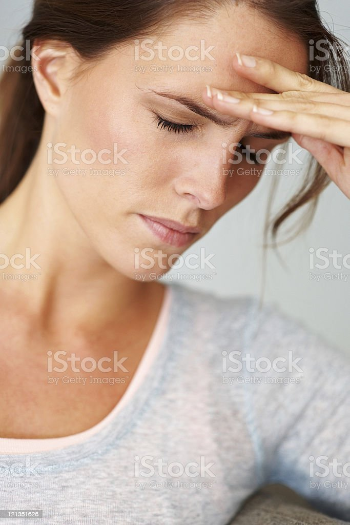 Closeup of a pretty, young girl looking frustrated royalty-free stock photo