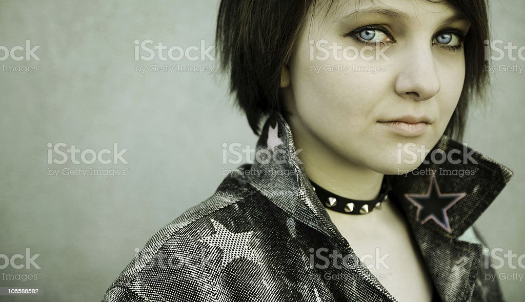 Close-Up of a Punk Girl stock photo