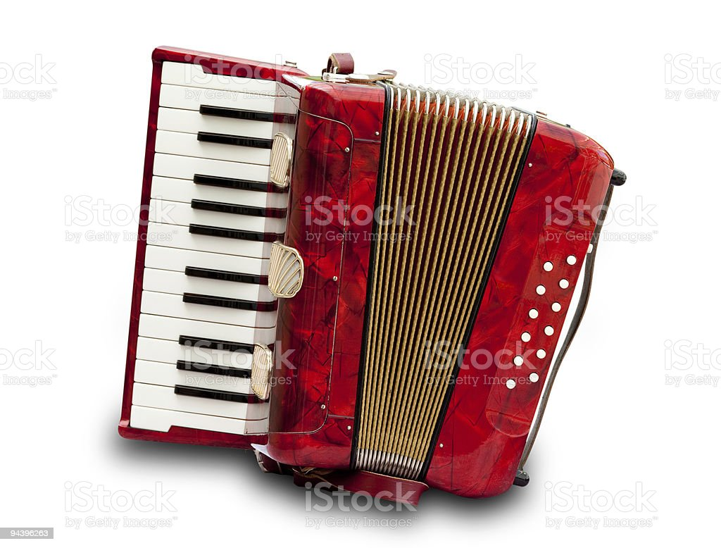 A closeup of a red and gold accordion, isolated on white stock photo