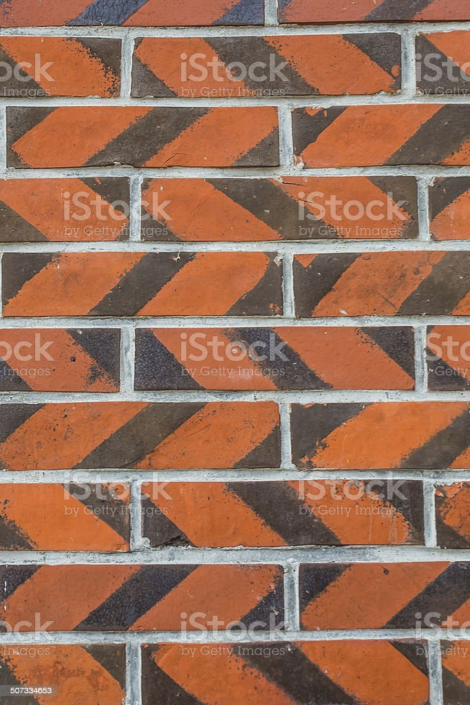 Closeup of a Red Brick Zigzag stock photo