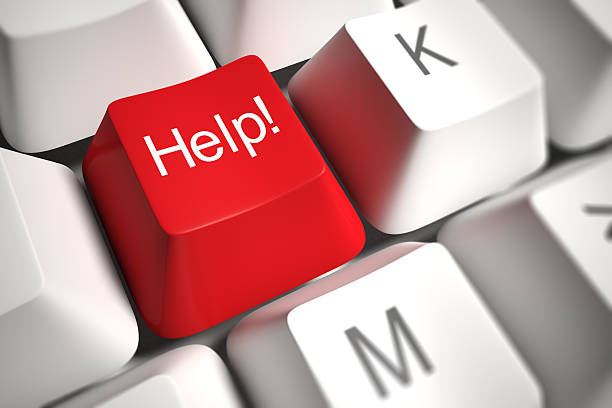 Close-up of a red Help key on a white keyboard stock photo