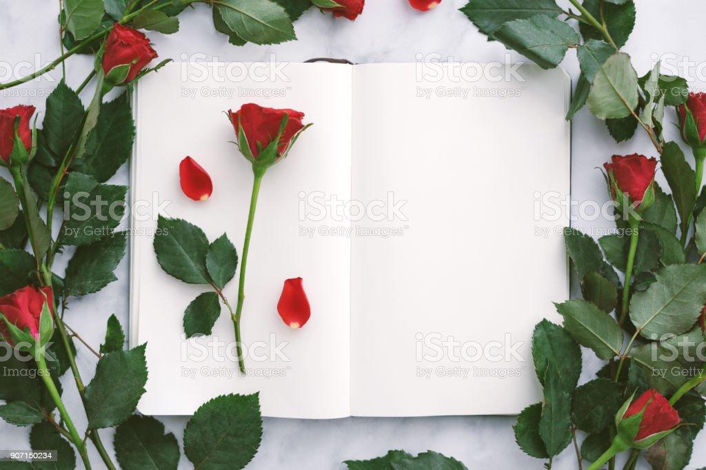 Nahaufnahme von einer roten Rose auf eine leere Tagebuchseite – Foto