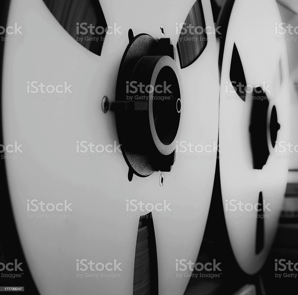 Close-up of a reel audio recorder stock photo