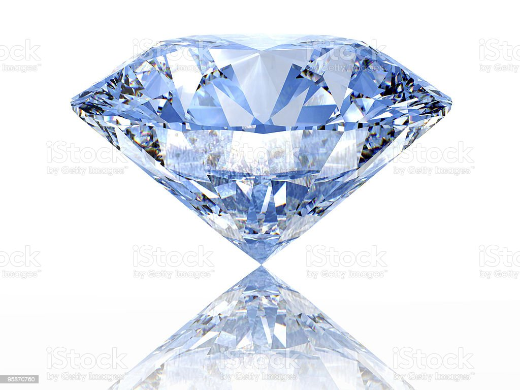 Close-up of a reflected diamond on a white background royalty-free stock photo