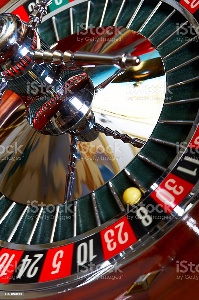 Close-up of a roulette wheel royalty-free stock photo