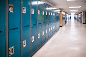 Close-up of a row of school lockers