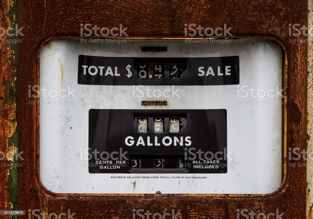 Closeup of a Rusty Old Gasoline Pump when gas was 33 cents a gallon stock photo
