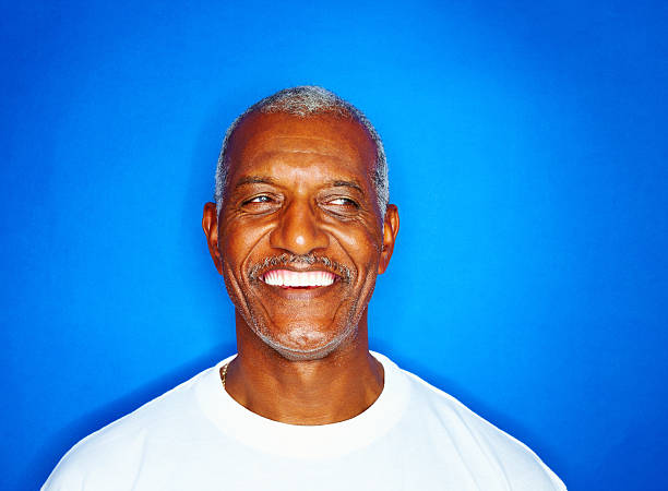 Close-up of a senior man smiling stock photo