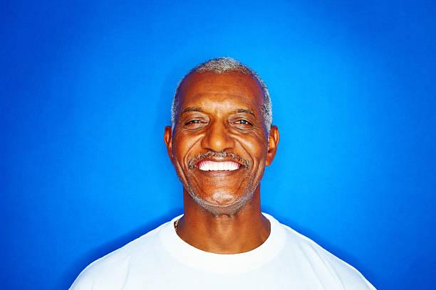 Close-up of a senior man smiling stock photo