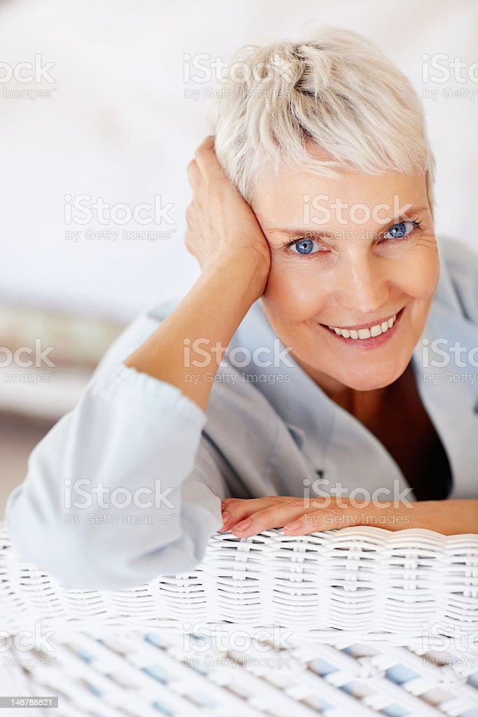 Close-up of a senior woman smiling stock photo