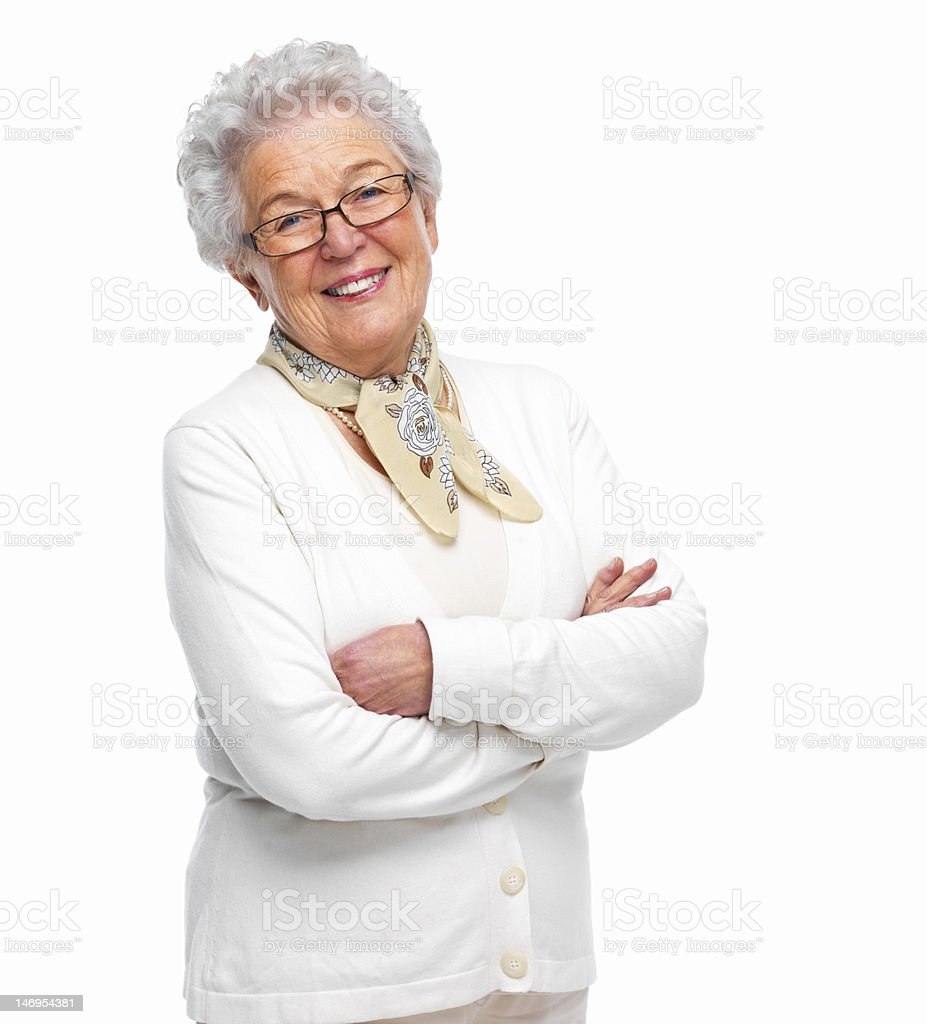 Close-up of a senior woman smiling royalty-free stock photo