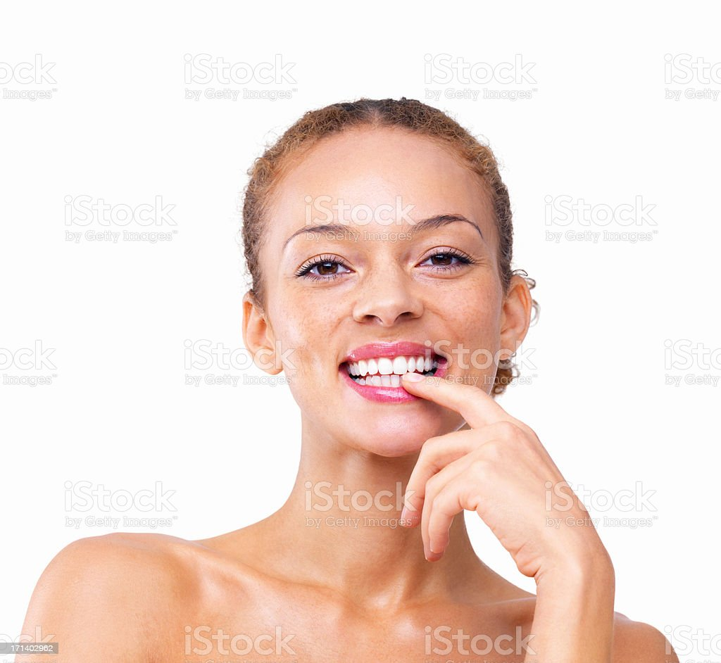 Closeup of a sexy girl smiling isolated on white background stock photo