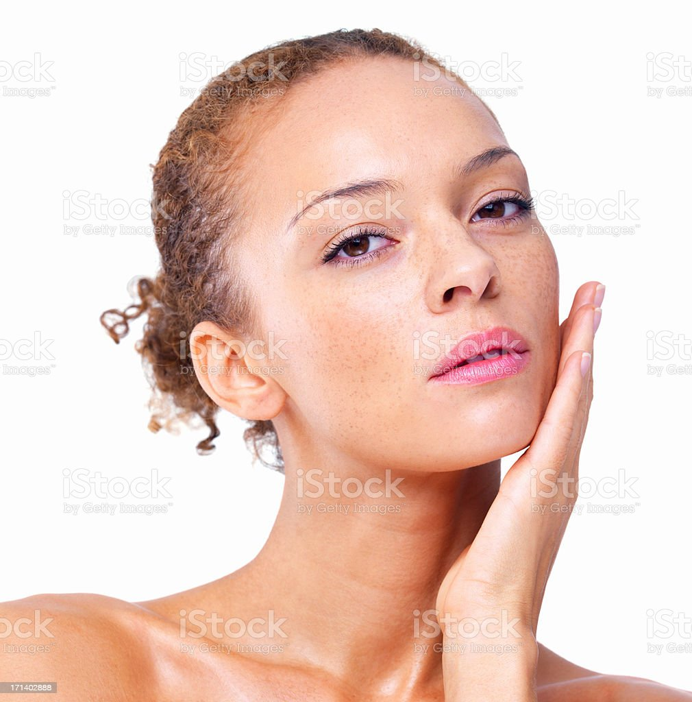Closeup of a sexy woman isolated on white background stock photo