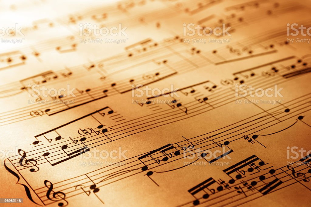 A close-up of a sheet of music stock photo