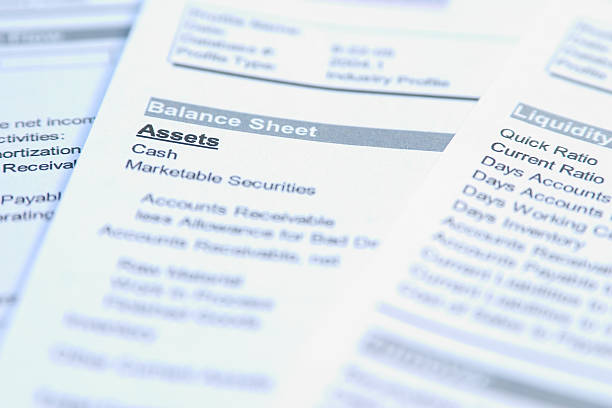 Closeup of a sheet of paper focusing on the word Assets  Financial documents with focus on a word