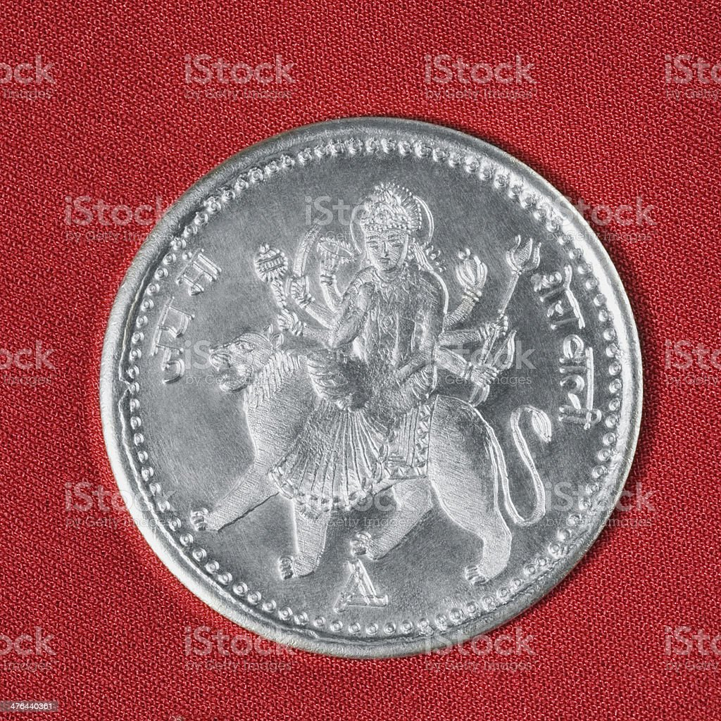 Close-up of a silver coin royalty-free stock photo