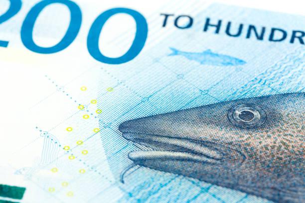 Nahaufnahme von einem einzigen 200 norwegische Kronen Banknote Avers – Foto