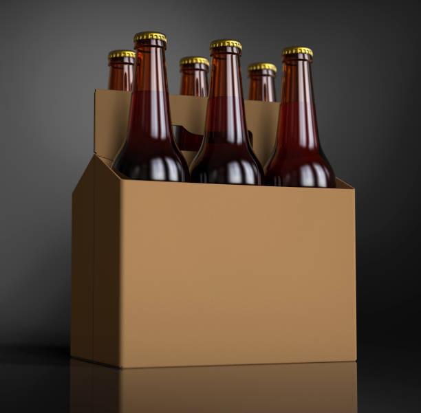 gros plan d'un six bouteilles de bière brune en carton. rendu 3d, lumière de studio, fond tache gris foncé. - pack de six photos et images de collection