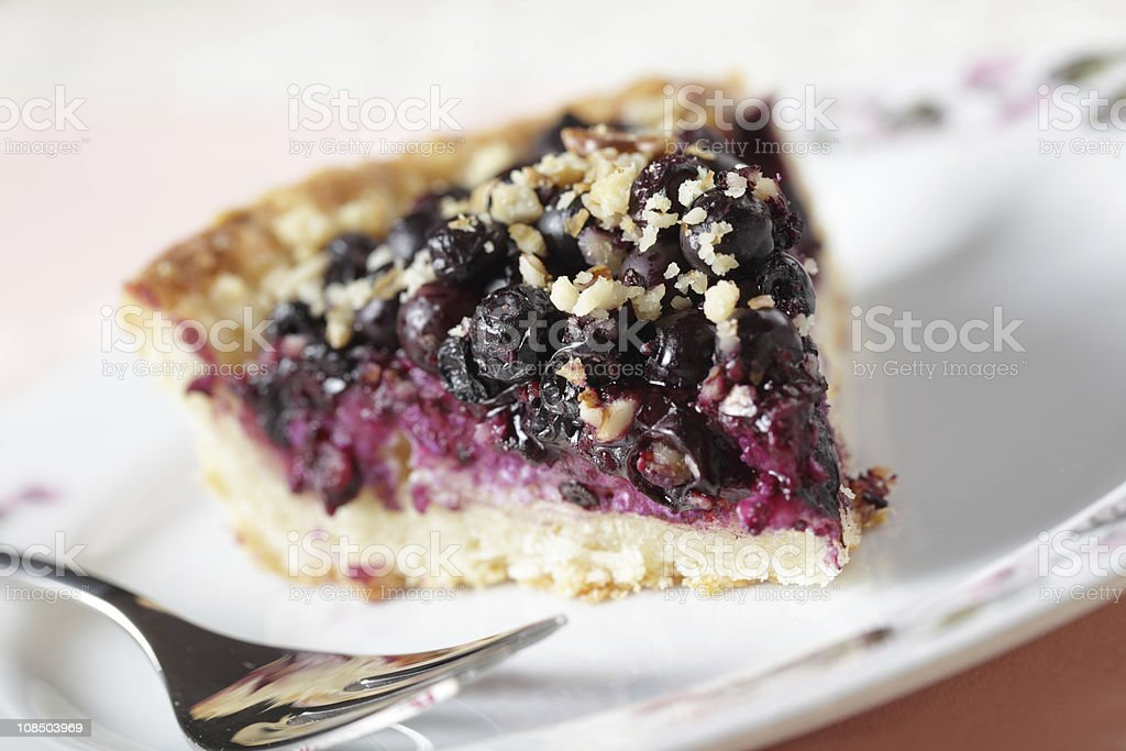 Close-up of a slice of blueberry pie on a white plate stock photo