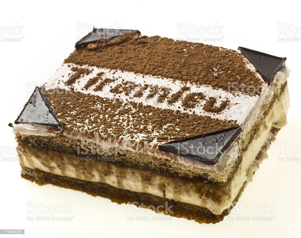 Close-up of a slice of Tiramisu royalty-free stock photo