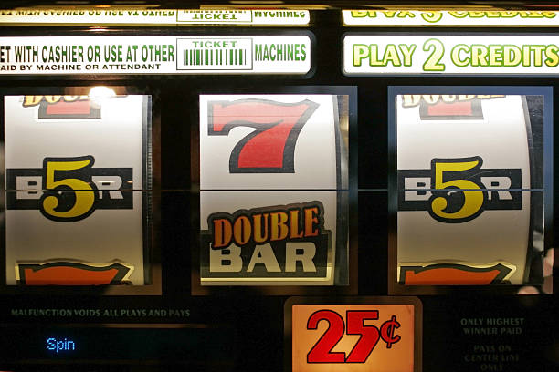 Close-up of a slot machine in Las Vegas stock photo