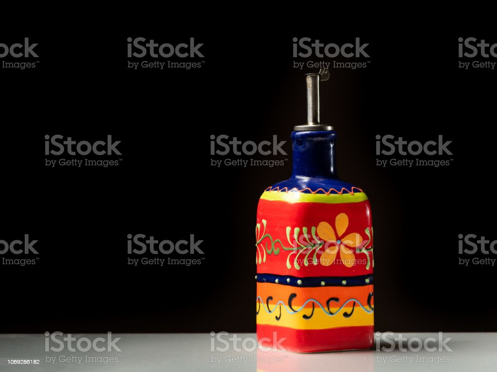 Closeup Of A Small Red Painted Bottle For Serving Olive Oil Stock Photo Download Image Now Istock