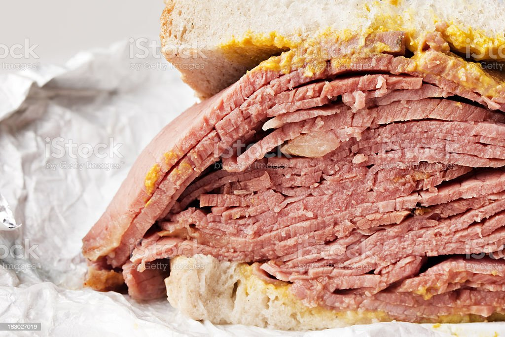 Close-up of a smoked meat deli sandwich stock photo