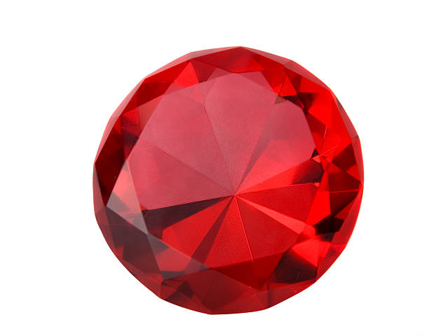 Close-up of a sparkling red ruby Ruby isolated on white. stone object stock pictures, royalty-free photos & images