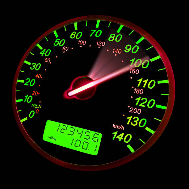A close-up of a speedometer with green neon lights stock photo