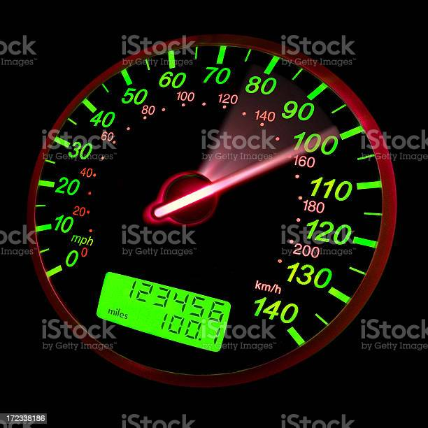 A Closeup Of A Speedometer With Green Neon Lights Stock Photo - Download Image Now
