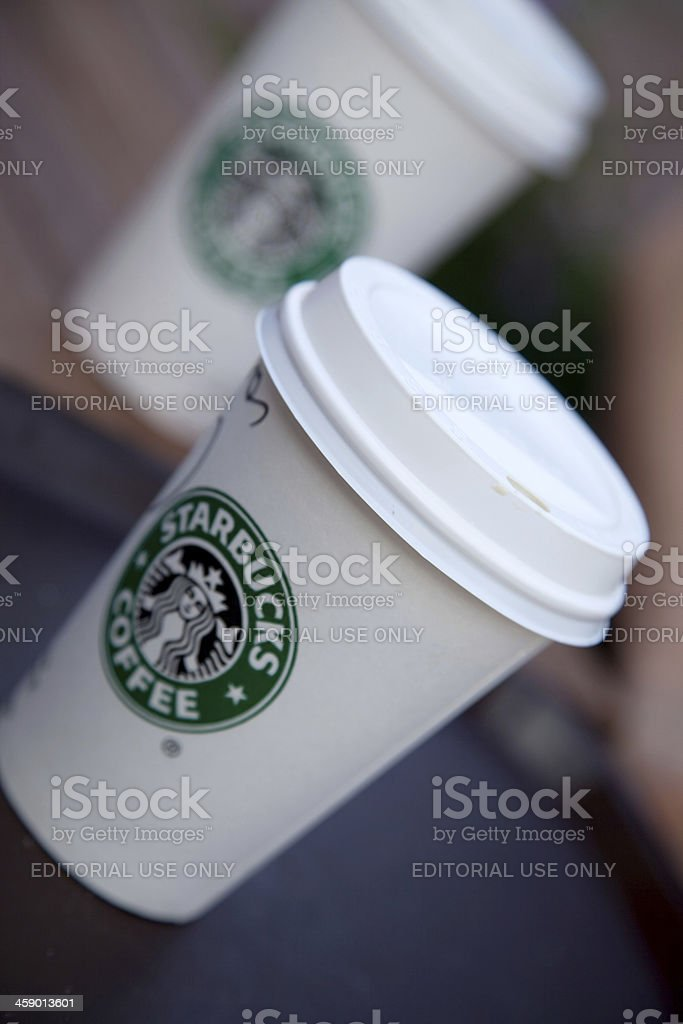 Closeup of a starbucks coffee cup royalty-free stock photo
