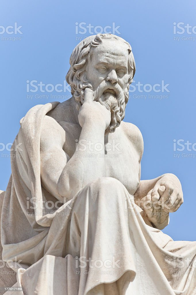 A close-up of a statue of Greek philosopher Socrates royalty-free stock photo