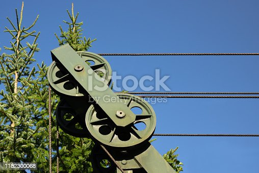 Close-up of a steel winch in front of green spruce trees and blue sky as a detail of a lift
