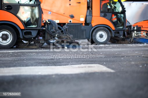 Close-up of a street cleaning truck - minor motion blur