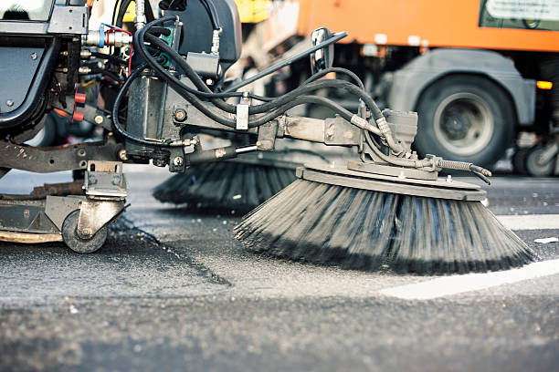 close-up of a street cleaning truck - sweeping stock pictures, royalty-free photos & images