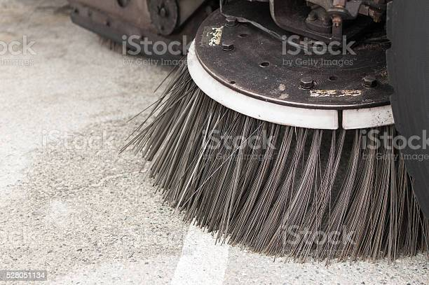 Closeup Of A Street Sweeper Vehicles Brush Stock Photo - Download Image Now