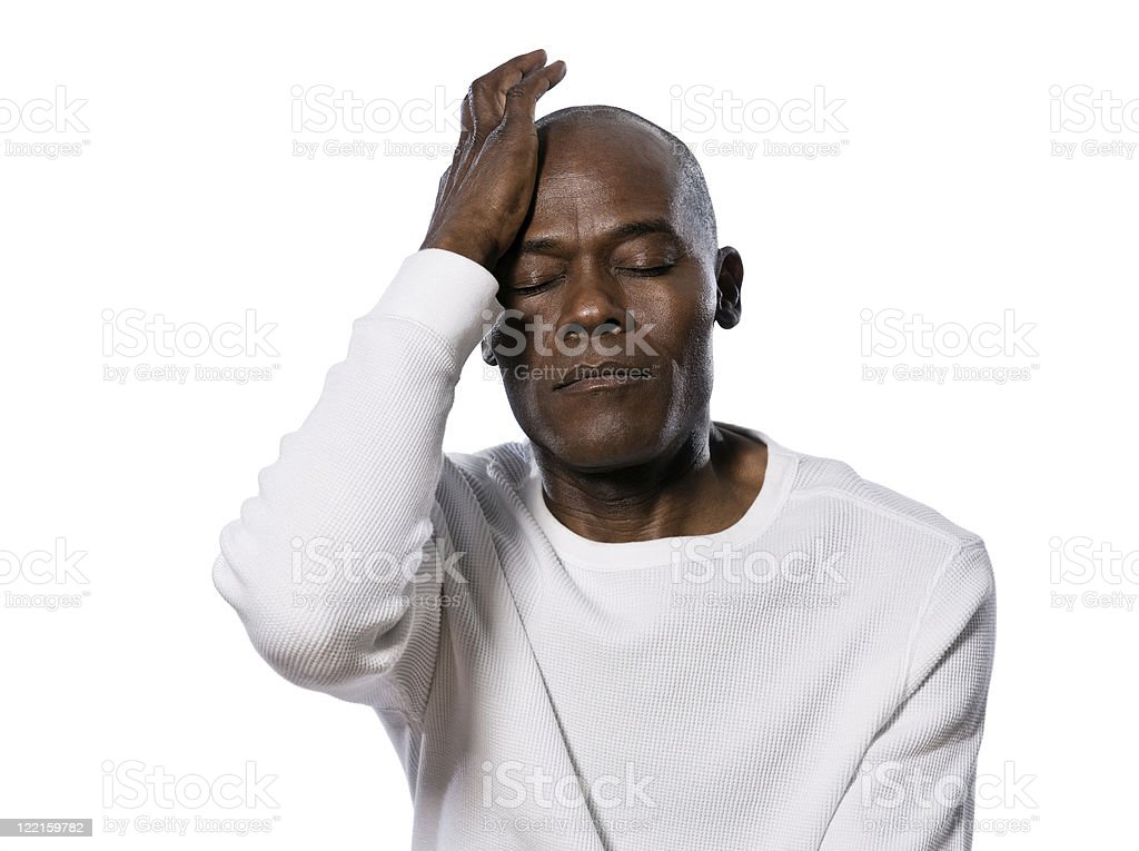 Close-up of a stressed man stock photo