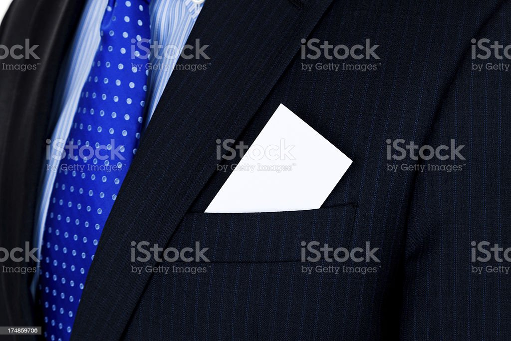 Closeup of a suit with card in pocket stock photo