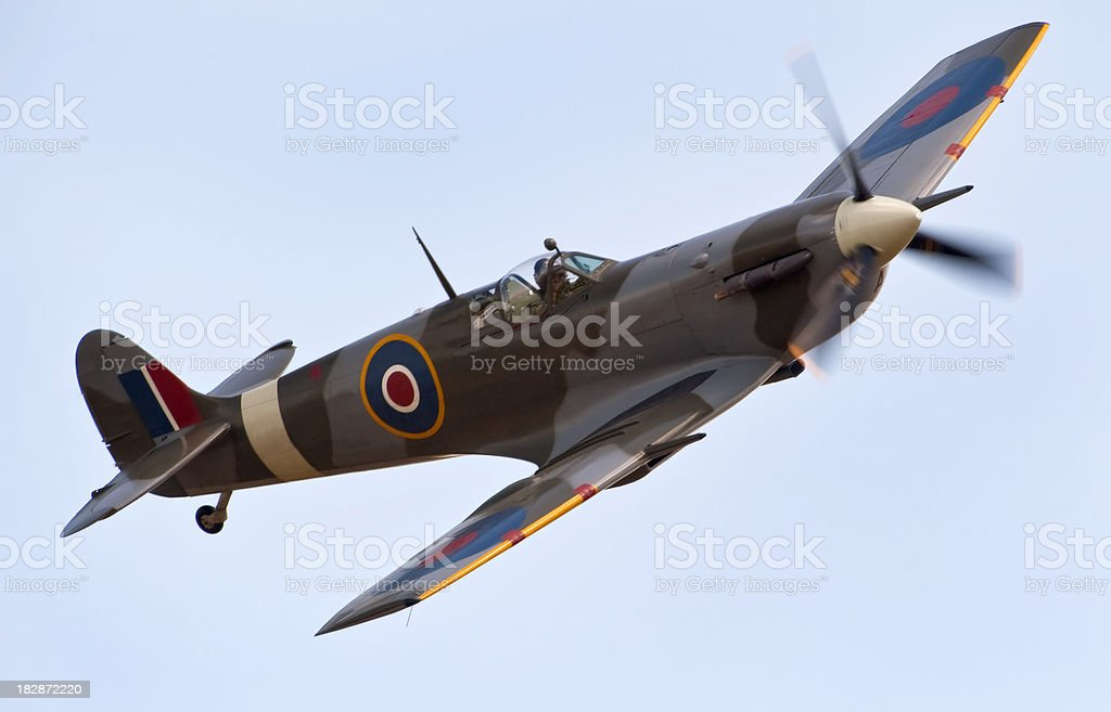 A close-up of a Supermarine Spitfire aircraft in flight stock photo