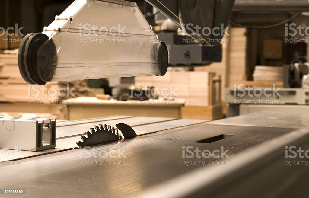 Close-up of a table saw in a workshop stock photo