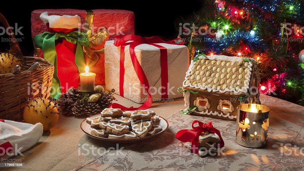 클로즈업 표 크리스마스 선물 세트 royalty-free 스톡 사진