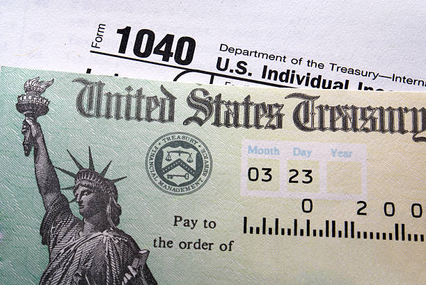 Close-up of a tax check from the United States Treasury  refund stock pictures, royalty-free photos & images