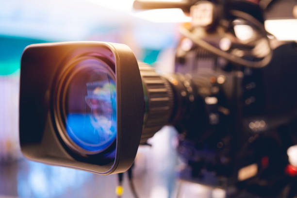 Close-up of a Television Camera Lens. stock photo