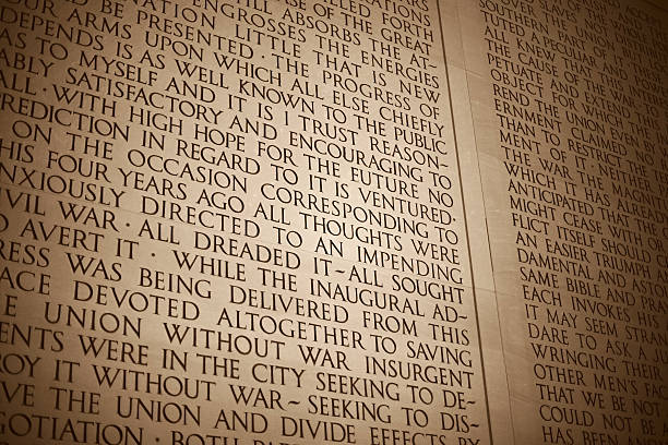 Close-up of a text wall at the Lincoln Memorial