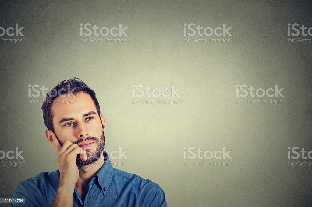 Closeup of a thinking man stock photo