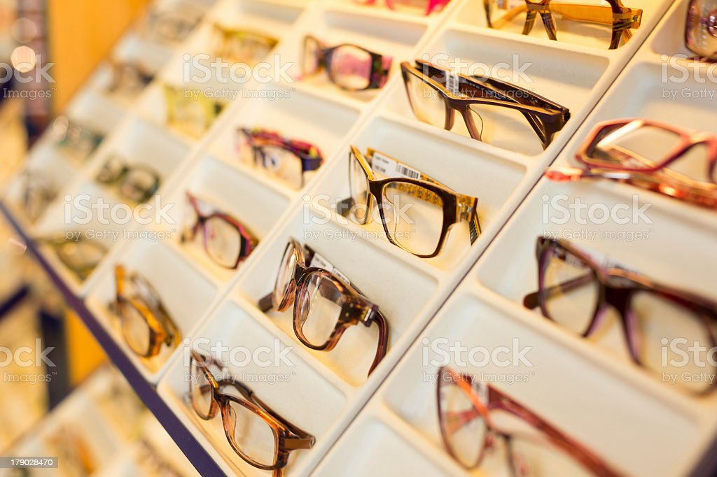 Close-up of a tray of multiple eyeglasses stock photo